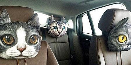 動物の顔の自動車用の枕の画像(1枚目)