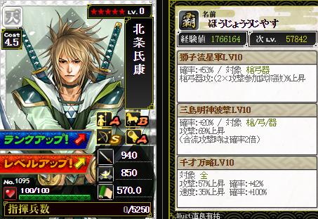 北条再チャレ2・・・成功→レベル10