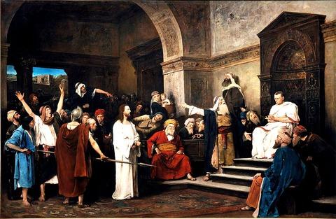 1881ムンカーチ・ミハーイ_-_Christ_in_front_of_Pilateピラト