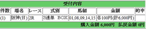 170611阪神2R 100万馬券企画