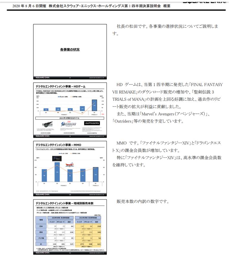 松田社長「FF14の課金会員数について、高水準の課金会員数を維持出来ている」