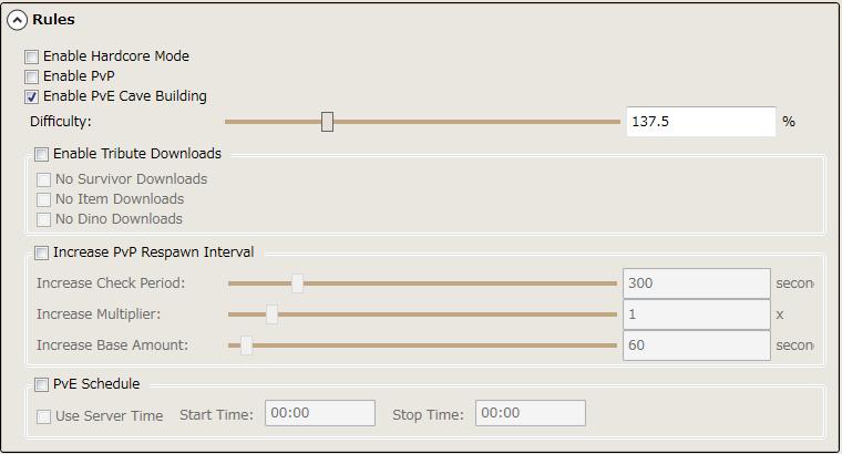 Ark Server Manager settings