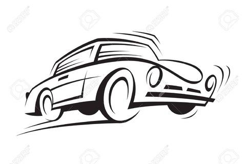 16627586-車の抽象的な白黒イラスト