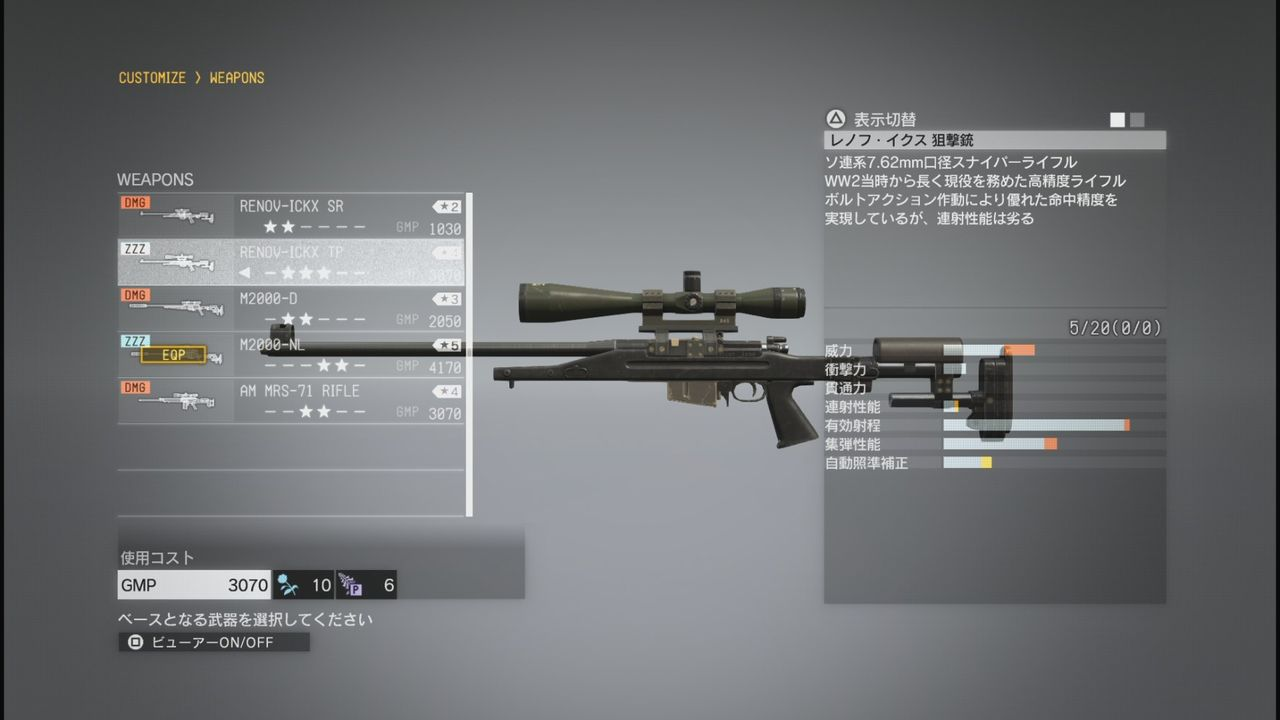 mgs5 武器 カスタマイズ