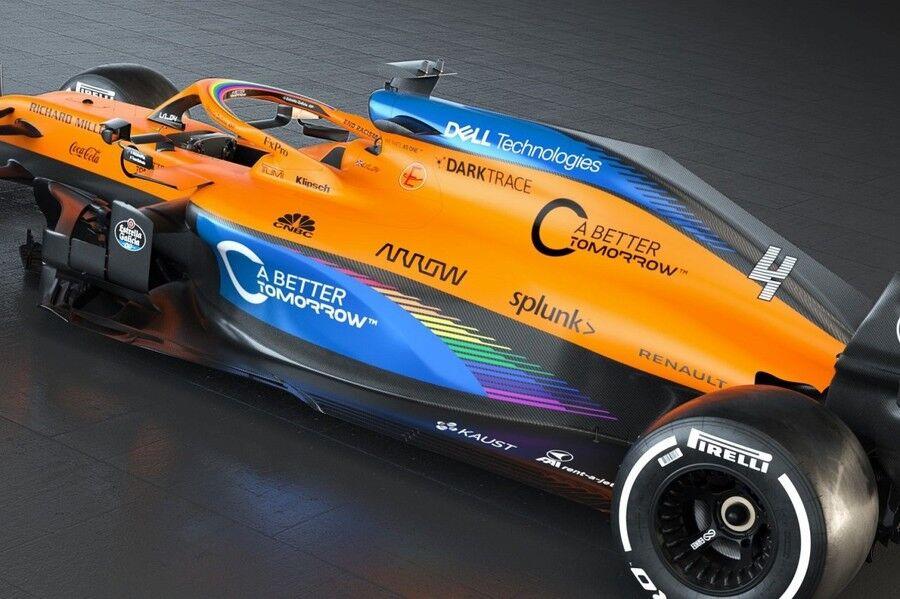 【F1】マクラーレンがレインボーカラーのマシンMCL35を披露 F1の人種差別反対運動に賛同・・・で、黒いタイヤはそのままか?