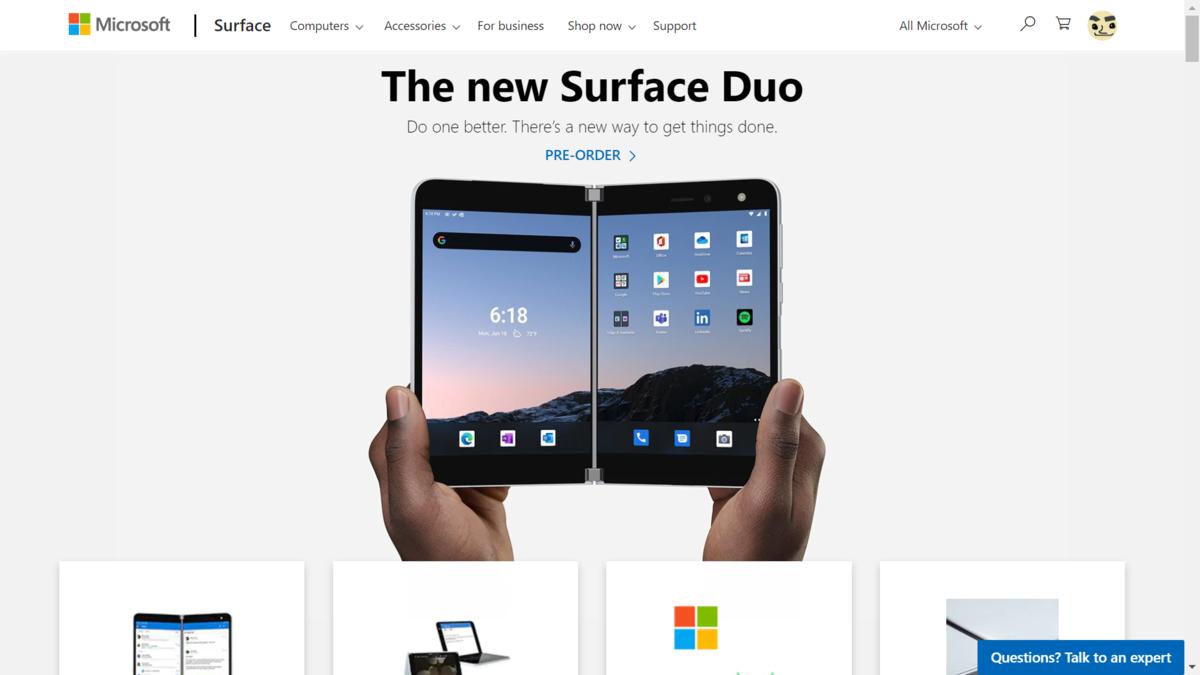 2画面Android端末 Microsoft「Surface Duo」を9月に前倒し発売 ・・・これ電話もできるのですよねw