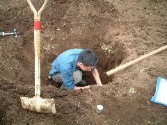 土壌調査をするワタクシ