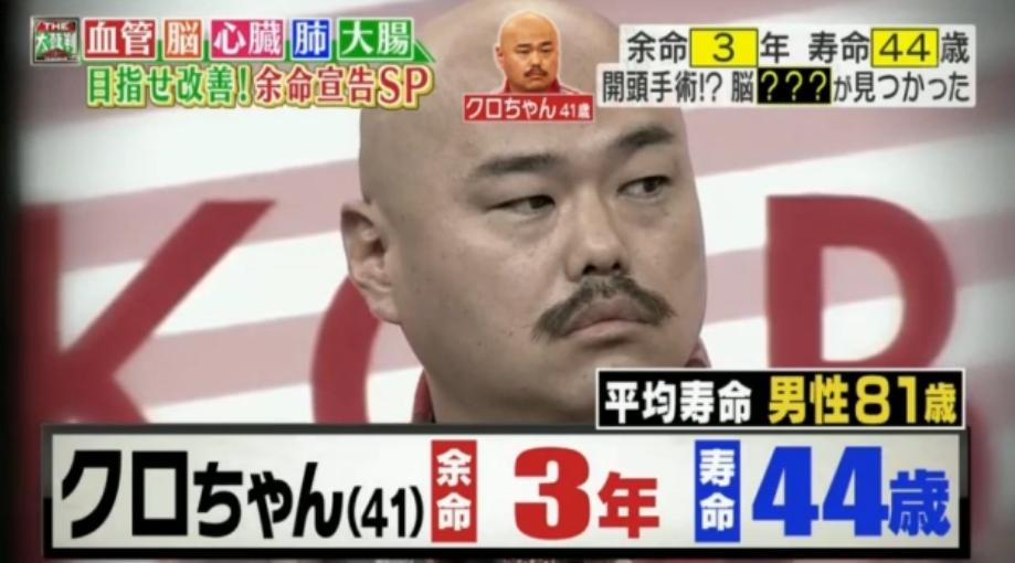 【悲報】クロちゃん(41)、余命3年宣告