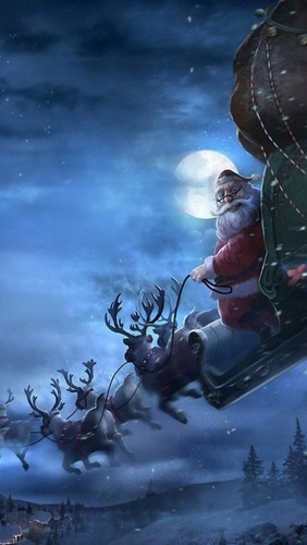 christmas-sleigh-car-santa-reindeer-gifts-snowflakes-640x1136