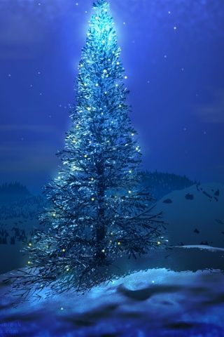 ws_Blue_Christmas_tree_320x480
