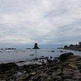 雨晴海岸 女岩と立山連峰を望む