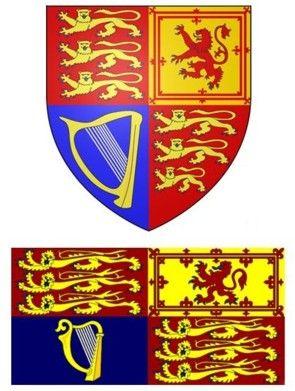 図7:イギリス国王の紋章(上)と旗