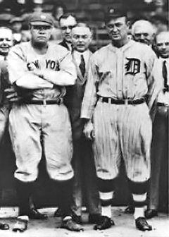 ベーブ・ルース(左)とタイ・カッブ(1920年)