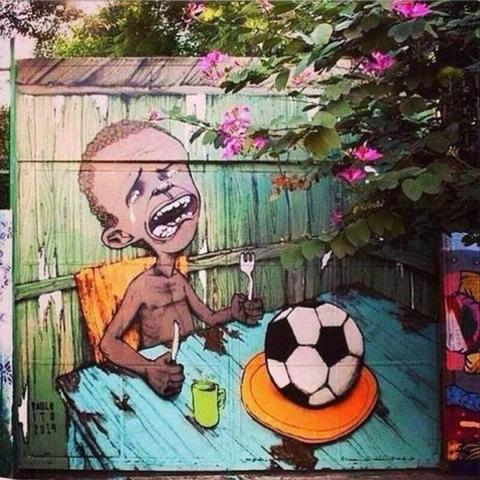 ブラジルW杯反対風刺画1