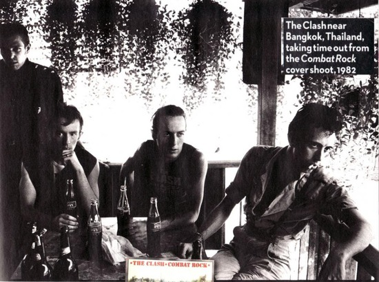 The Clash take a break during photo shoot 1982