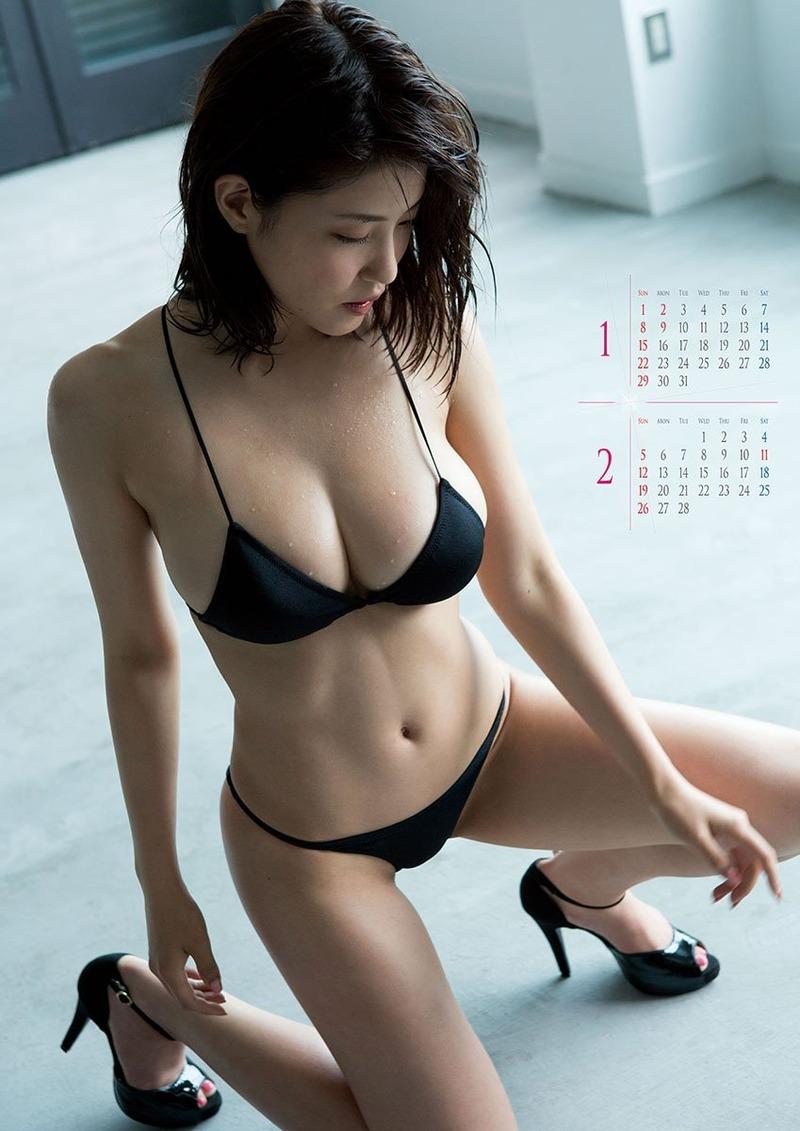 岸明日香 (25)Hカップの激エロカレンダーがぐうシコ!爆乳グラビアがオナニー捗るわww【エロ画像】
