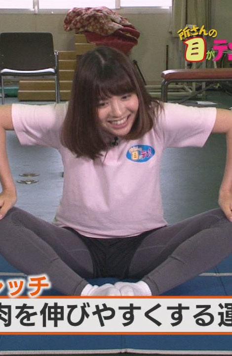 佐藤真知子アナ(24)のスパッツ姿の股間開脚がエロいww【エロ画像】