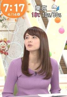宮澤智アナ(28)の着衣ニットがエッチでけしからんww【エロ画像】