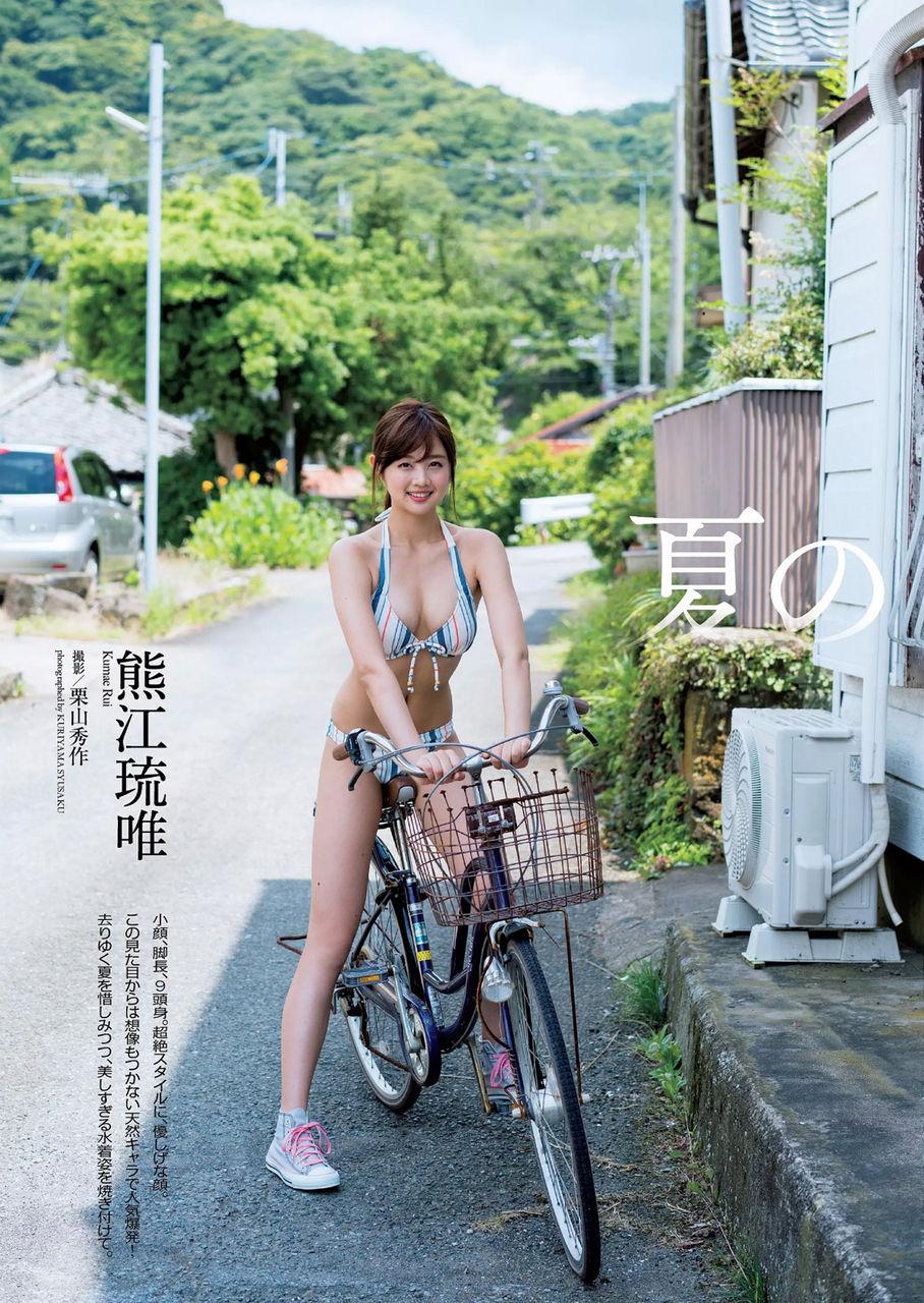 熊江琉唯(22)自転車に跨るスイムスーツ美人モデル美女のグラビア抜ける。。【エロ画像】