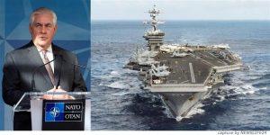 """【米軍シリア攻撃】ティラーソン米国務長官「北朝鮮への警告」 安倍首相""""一枚岩""""確認"""
