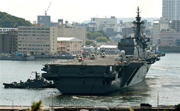 【米艦防護】海上自衛隊護衛艦「いずも」出航 安保関連法新任務、北朝鮮を牽制