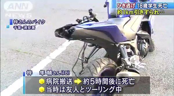 【千葉浦安】バイクの大学生、軽自動車に追突され死亡=引きずられたまま1km