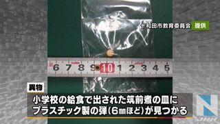 【青森十和田】小学校給食からBB弾 10月から縫い針や紙の混入相次ぐ