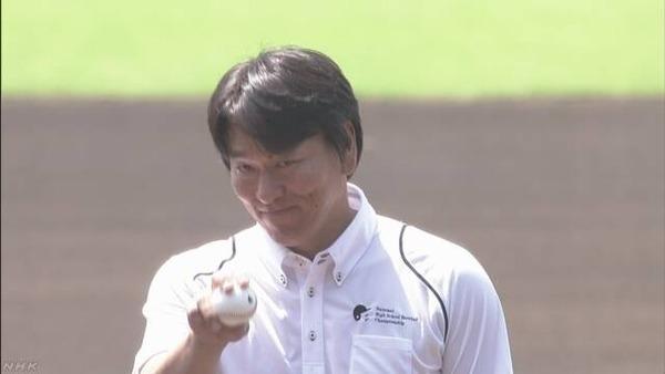 【レジェンド始球式】松井秀喜さん「甲子園の魔物に襲われた」 ワンバン投球に頭抱え笑い