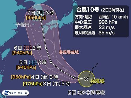 【台風10号進路予想】ハイシェン、猛発達して日本列島へ 週末は未曾有の災害に厳重警戒=統計開始以来最強クラス