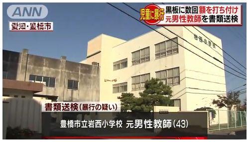 【愛知豊橋】岩西小学校元教諭 小2女児への暴行容疑で書類送検=髪をつかみ黒板に頭を打ち付け
