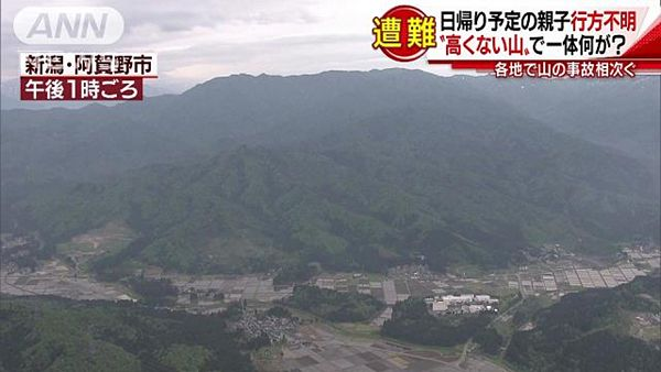【新潟阿賀野】父子遭難、未だ見つからず 軽装のうえ最低気温5度と雨=8日も50人態勢で捜索