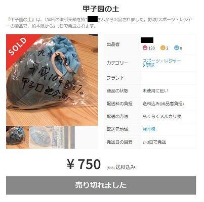 【球児のロマン】甲子園の土、メルカリに続々「85回大会で敗退した際に持ち帰った物です」=売る阿呆に買う阿呆