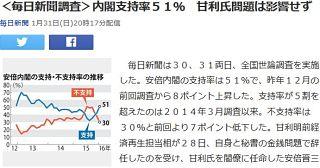【世論調査】安倍内閣支持率51% 甘利氏問題影響せず(毎日新聞)