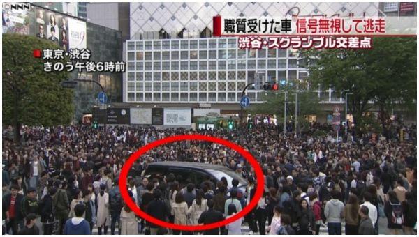 【東京渋谷】スクランブル交差点に職質突破のアルファード、人混み突っ切り逃走