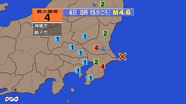 【緊急地震速報】茨城県神栖市、千葉県銚子市で震度4 千葉県東方沖