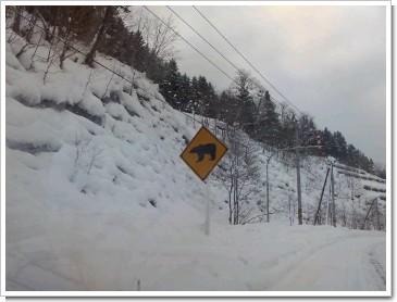 道路標識(熊飛び出し注意)