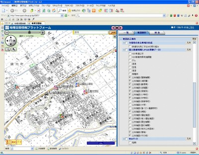 地理空間情報プラットフォームの表示画面