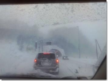 神居古潭トンネルでの事故による渋滞