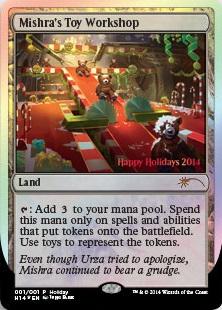 【MTG】クリスマスにウィザーズ関係者のみに配布されるホリデーカード、今年は熊のぬいぐるみをカッターで破砕する《Mishra's Toy Workshop》が登場