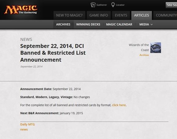 【MTG】2014年9月22日発表のDCI禁止・制限カードリスト 今回も変更は無し