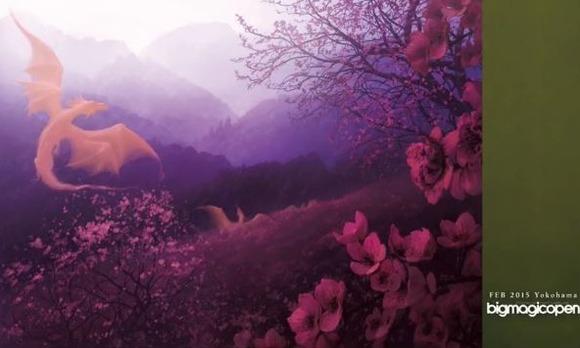 【BMO】第3回BIGMAGICOPENにて賞品として配布されるJohn Avon氏描きおろしプレイマット及びスリーブのイラストが公開に 咲き乱れる桜に花と戯れる龍