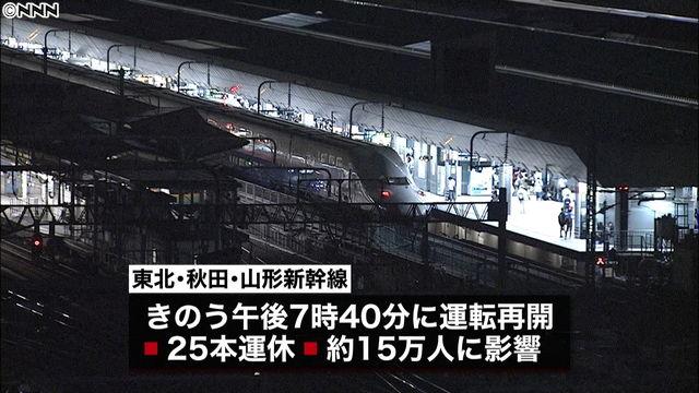 【東北新幹線】鳥の衝突が引き金で停電か?!…twitter住民の反応