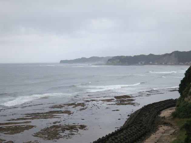 到着後も、波や人混みを見てからポイントを決めるようで、しばらく海沿いをパトロールします。