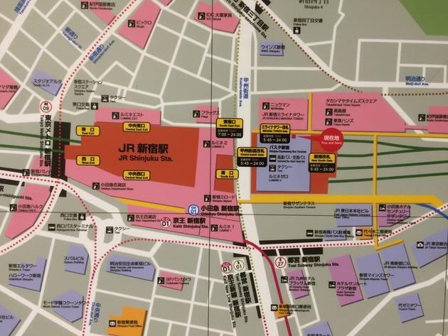 NEWoMan(ニュウマン)新宿の駅ナカ。写真の「現在地」の目の前に「TP TEA」があります