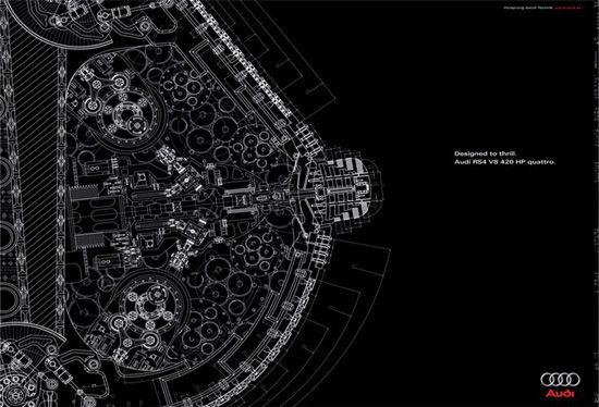 アウディRS4 V8 4.2L 420馬力の宣伝らしいが何故におっぱい? ( ゚∀゚)o彡°おっぱい!おっぱい!