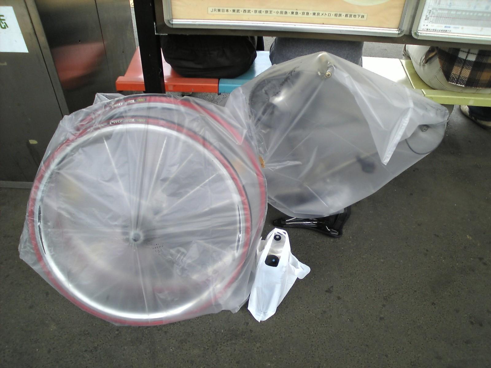 自転車の 100円 自転車カバー 輪行 : ゴミ袋輪行