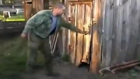 犬 小屋のドアを閉じる04