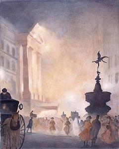 牧野義雄《ピカデリー・サーカスの夜景》 牧野義雄(1869-1956) 《ピカデリー・サーカスの