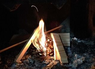 松ぼっくり着火
