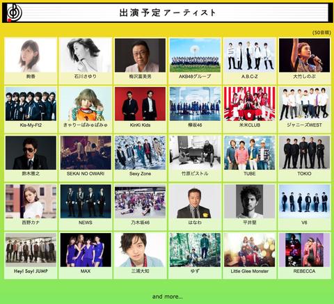 TBS「音楽の日」出演アーティスト第1弾発表!AKB48Gで一括りに